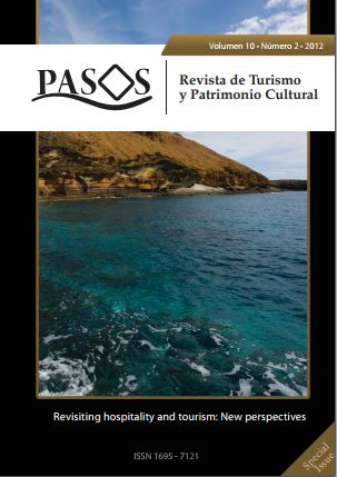 Ver Vol. 10 Núm. 2 (2012): PASOS Revista de Turismo y Patrimonio Cultural 10(2), 2012. Special Issue:  Revisiting hospitality and tourism: New perspectives